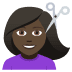 💇🏿‍♀️ woman getting haircut: dark skin tone Emoji on Joypixels Platform