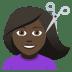 💇🏿♀️ woman getting haircut: dark skin tone Emoji on Joypixels Platform