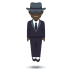 🕴🏿 man in suit levitating: dark skin tone Emoji on Joypixels Platform