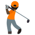 🏌🏿 person golfing: dark skin tone Emoji on Joypixels Platform