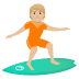 🏄🏼 person surfing: medium-light skin tone Emoji on Joypixels Platform