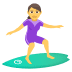 🏄♀️ woman surfing Emoji on Joypixels Platform
