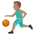 ⛹🏽‍♂️ man bouncing ball: medium skin tone Emoji on Joypixels Platform