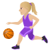 ⛹🏼‍♀️ woman bouncing ball: medium-light skin tone Emoji on Joypixels Platform
