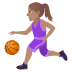 ⛹🏽‍♀️ woman bouncing ball: medium skin tone Emoji on Joypixels Platform