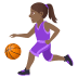 ⛹🏾‍♀️ woman bouncing ball: medium-dark skin tone Emoji on Joypixels Platform