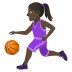 ⛹🏿‍♀️ Dark Skin Tone Woman Bouncing Ball Emoji on JoyPixels Platform