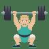🏋🏼♂️ man lifting weights: medium-light skin tone Emoji on Joypixels Platform