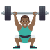 🏋🏾‍♂️ man lifting weights: medium-dark skin tone Emoji on Joypixels Platform