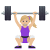 🏋🏼♀️ woman lifting weights: medium-light skin tone Emoji on Joypixels Platform