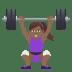 🏋🏾♀️ woman lifting weights: medium-dark skin tone Emoji on Joypixels Platform
