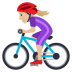 🚴🏼♀️ woman biking: medium-light skin tone Emoji on Joypixels Platform