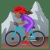 🚵🏾♀️ woman mountain biking: medium-dark skin tone Emoji on Joypixels Platform