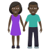 👫🏿 woman and man holding hands: dark skin tone Emoji on Joypixels Platform