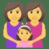 👩👩👧 family: woman, woman, girl Emoji on Joypixels Platform
