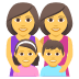 👩‍👩‍👧‍👦 family: woman, woman, girl, boy Emoji on Joypixels Platform