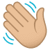 👋🏼 waving hand: medium-light skin tone Emoji on Joypixels Platform