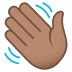 👋🏽 waving hand: medium skin tone Emoji on Joypixels Platform