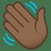 👋🏾 waving hand: medium-dark skin tone Emoji on Joypixels Platform