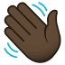 👋🏿 waving hand: dark skin tone Emoji on Joypixels Platform