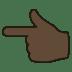 👈🏿 backhand index pointing left: dark skin tone Emoji on Joypixels Platform