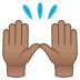 🙌🏽 raising hands: medium skin tone Emoji on Joypixels Platform