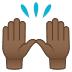🙌🏾 raising hands: medium-dark skin tone Emoji on Joypixels Platform