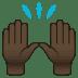 🙌🏿 raising hands: dark skin tone Emoji on Joypixels Platform