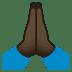 🙏🏿 folded hands: dark skin tone Emoji on Joypixels Platform