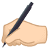 ✍🏻 writing hand: light skin tone Emoji on Joypixels Platform