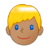 👱🏽 person: medium skin tone, blond hair Emoji on Samsung Platform