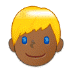 👱🏾 person: medium-dark skin tone, blond hair Emoji on Samsung Platform