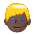 👱🏿‍♂️ man: dark skin tone, blond hair Emoji on Samsung Platform