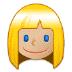 👱🏼♀️ woman: medium-light skin tone, blond hair Emoji on Samsung Platform