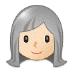 👩🏻🦳 woman: light skin tone, white hair Emoji on Samsung Platform