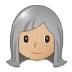 👩🏼🦳 woman: medium-light skin tone, white hair Emoji on Samsung Platform