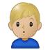 🙎🏼♂️ man pouting: medium-light skin tone Emoji on Samsung Platform