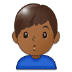 🙎🏾‍♂️ man pouting: medium-dark skin tone Emoji on Samsung Platform