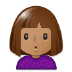 🙎🏽‍♀️ woman pouting: medium skin tone Emoji on Samsung Platform