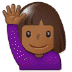 🙋🏾 person raising hand: medium-dark skin tone Emoji on Samsung Platform