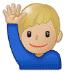 🙋🏼♂️ man raising hand: medium-light skin tone Emoji on Samsung Platform
