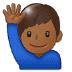 🙋🏾♂️ man raising hand: medium-dark skin tone Emoji on Samsung Platform