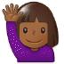 🙋🏾♀️ woman raising hand: medium-dark skin tone Emoji on Samsung Platform