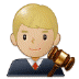 👨🏼‍⚖️ man judge: medium-light skin tone Emoji on Samsung Platform