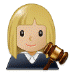 👩🏼‍⚖️ woman judge: medium-light skin tone Emoji on Samsung Platform