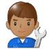 👨🏽🔧 man mechanic: medium skin tone Emoji on Samsung Platform