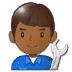 👨🏾🔧 man mechanic: medium-dark skin tone Emoji on Samsung Platform