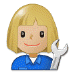 👩🏼🔧 woman mechanic: medium-light skin tone Emoji on Samsung Platform