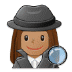 🕵🏽‍♀️ woman detective: medium skin tone Emoji on Samsung Platform