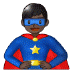 🦸🏿‍♂️ man superhero: dark skin tone Emoji on Samsung Platform